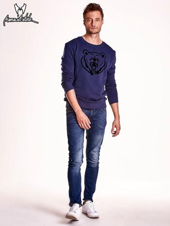 Granatowa bluza męska z niedźwiedziem                                  zdj.                                  3
