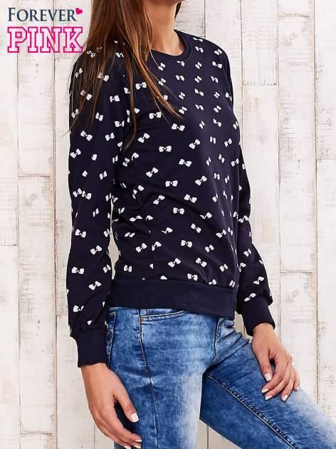 Granatowa bluza motyw kokardek                                  zdj.                                  3
