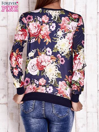 Granatowa bluza z kwiatowym motywem                                  zdj.                                  4