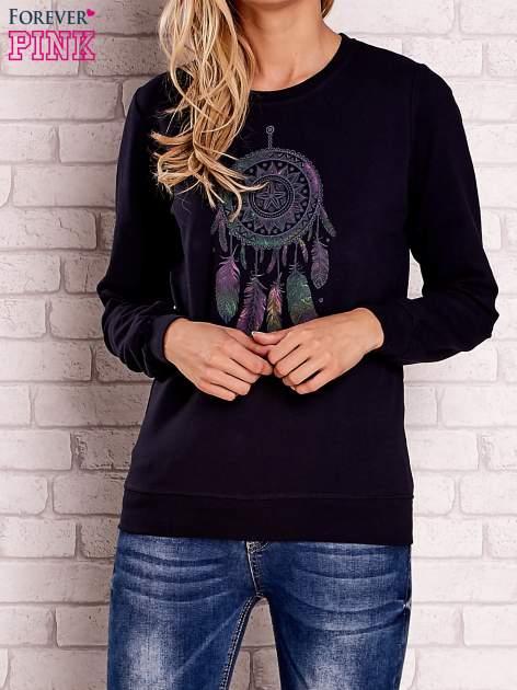 Granatowa bluza z nadrukiem łapacza snów