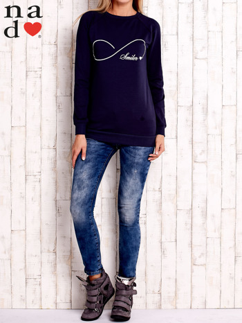 Granatowa bluza z napisem SMILER                                  zdj.                                  2