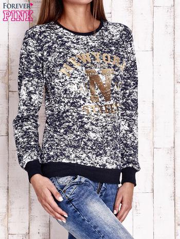 Granatowa bluza ze złotym napisem NEW YORK                                  zdj.                                  3