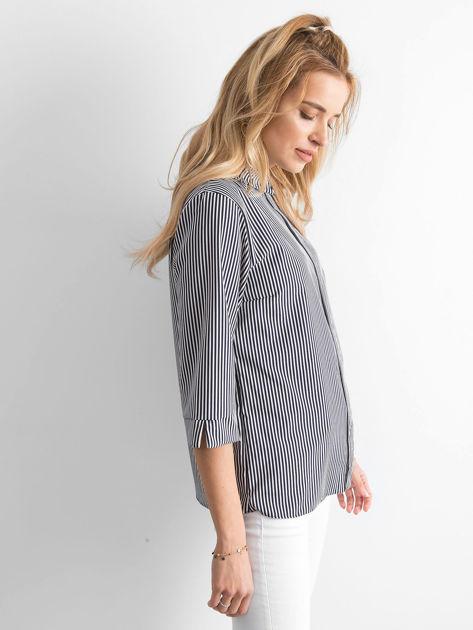 Granatowa bluzka w paski                              zdj.                              2