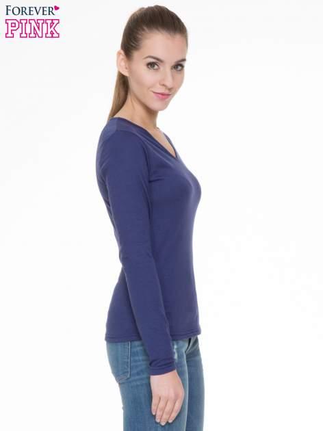 Granatowa bluzka z długim rękawem z bawełny                                  zdj.                                  3