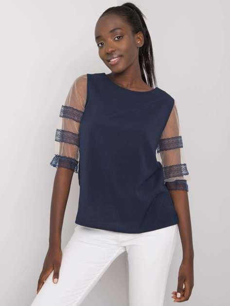 Granatowa bluzka z ozdobnymi rękawami Cora