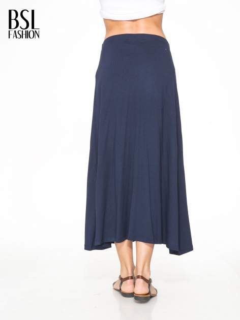 Granatowa długa spódnica maxi na gumkę                                  zdj.                                  4