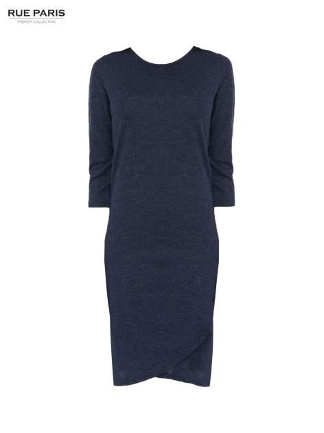 Granatowa dzianinowa sukienka z kopertowym dołem                                  zdj.                                  5