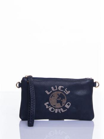 Granatowa kopertówka z dżetami napis LUCY WORLD                                  zdj.                                  1