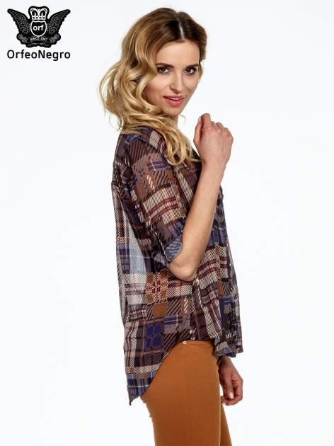Granatowa koszula damska w kratę                                  zdj.                                  5