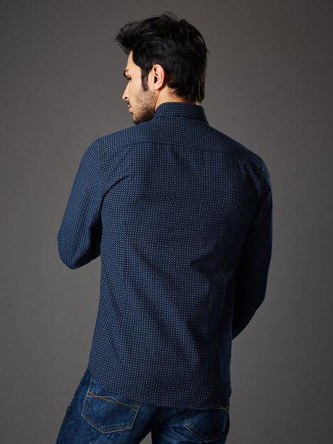 Granatowa koszula męska o prostym kroju w drobny wzór                              zdj.                              2