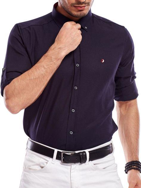 Granatowa koszula męska regular fit z podwijanymi rękawami                               zdj.                              5