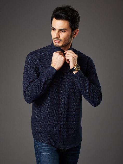 Granatowa koszula męska w kropki regular fit                              zdj.                              5