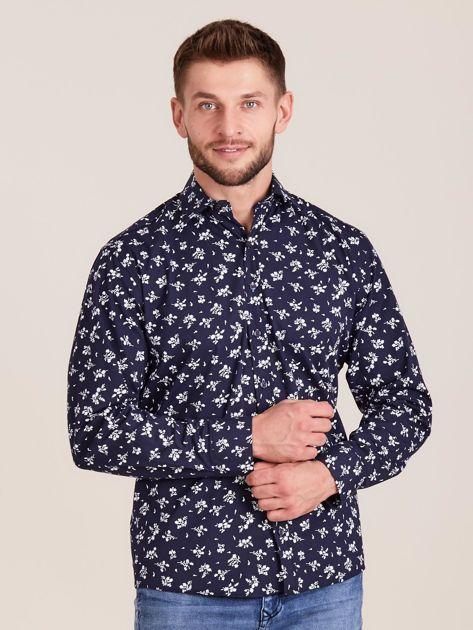 Granatowa koszula męska w roślinne wzory                              zdj.                              1