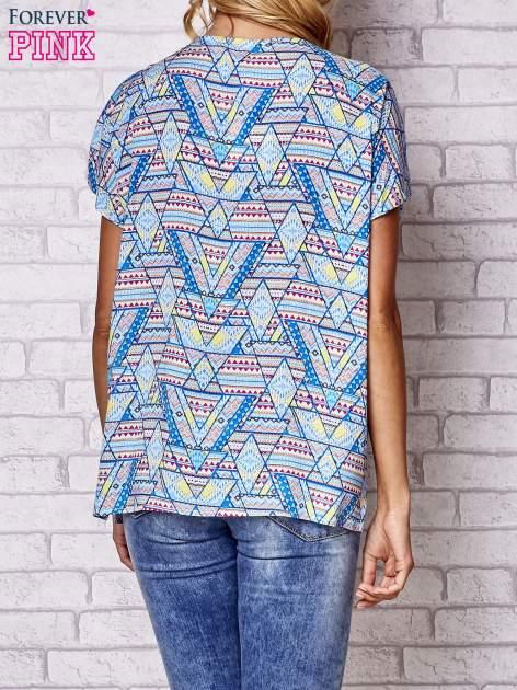 Granatowa koszula w geometryczne wzory                                  zdj.                                  4