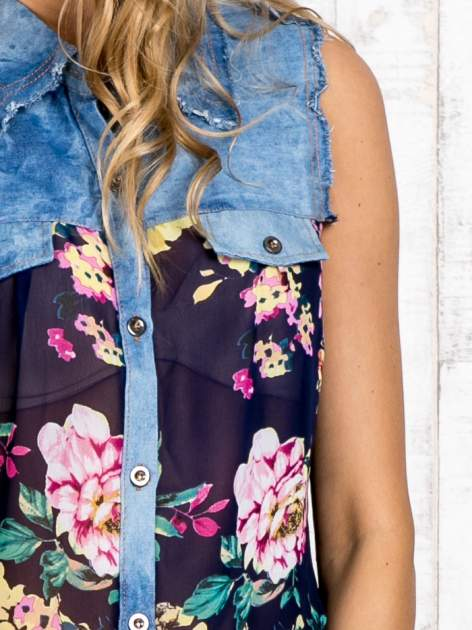 Granatowa koszula z kwiatowym motywem                                  zdj.                                  6