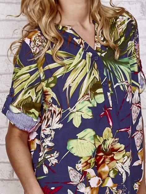 Granatowa koszula z kwiatowym nadrukiem                                  zdj.                                  5