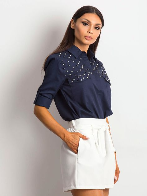 Granatowa koszula z perełkami                               zdj.                              3