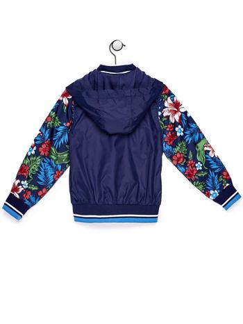 Granatowa kurtka dziecięca z kwiatowymi rękawami