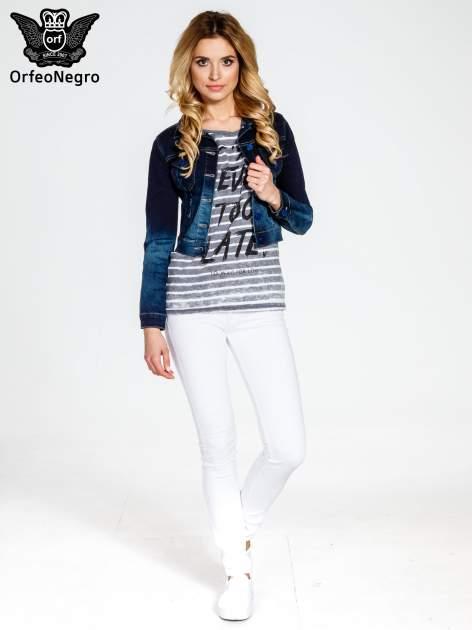 Granatowa kurtka jeansowa z efektem ombre                                  zdj.                                  2