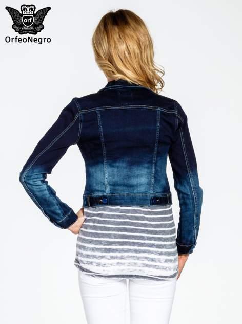 Granatowa kurtka jeansowa z efektem ombre                                  zdj.                                  4