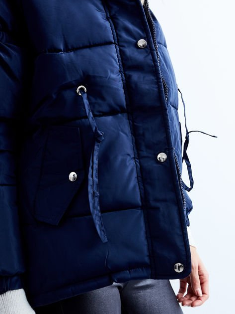 Granatowa kurtka zimowa pikowana                              zdj.                              7