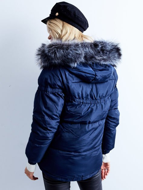 Granatowa kurtka zimowa pikowana                              zdj.                              3