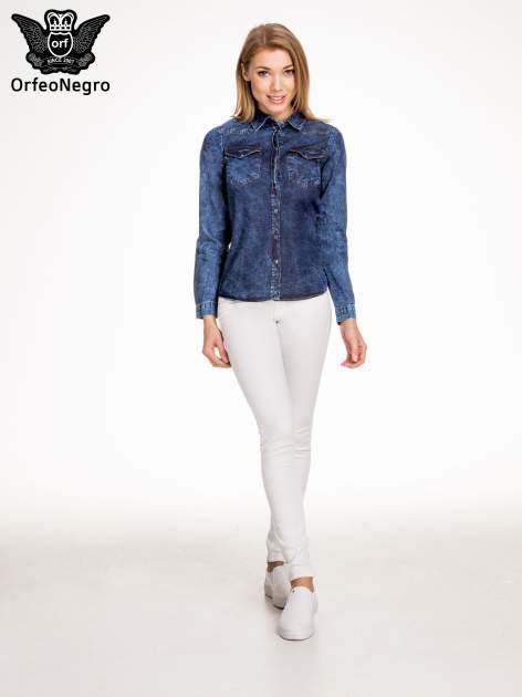 Granatowa marmurkowa koszula z jeansu                                  zdj.                                  6