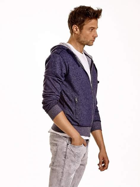 Granatowa melanżowa bluza męska z zasuwanymi kieszeniami                                  zdj.                                  4