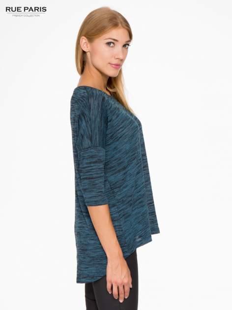 Granatowa melanżowa bluzka o obniżonej linii ramion                                  zdj.                                  3