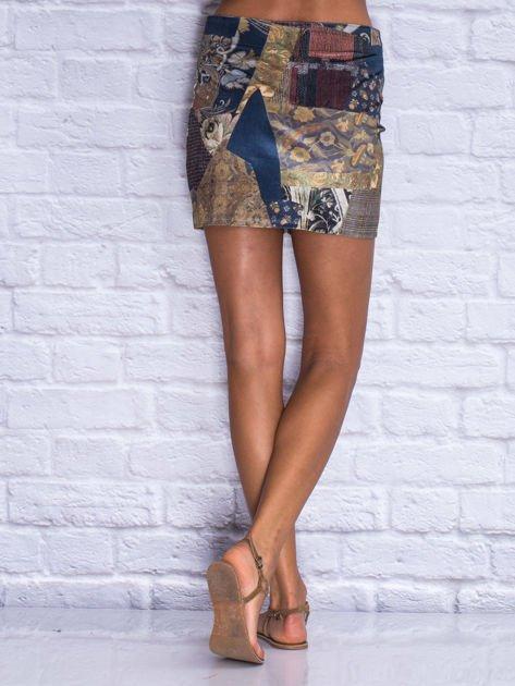 Granatowa patchworkowa spódnica mini z zamkiem                                  zdj.                                  2