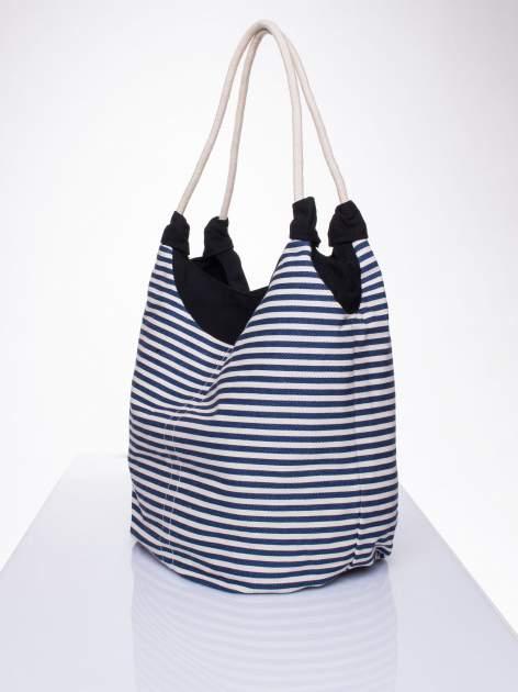 Granatowa plażowa torba hobo w paski na sznurku                                  zdj.                                  2