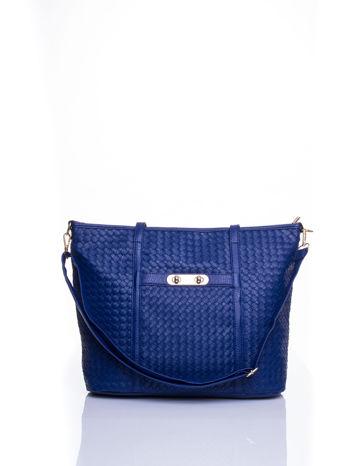 Granatowa pleciona torba shopper bag ze złotym detalem                                  zdj.                                  1