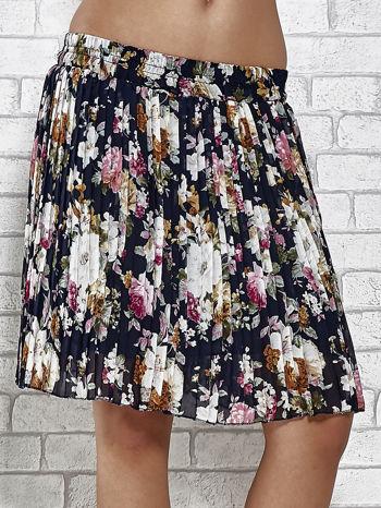 Granatowa plisowana spódnica w kwiaty                                  zdj.                                  1