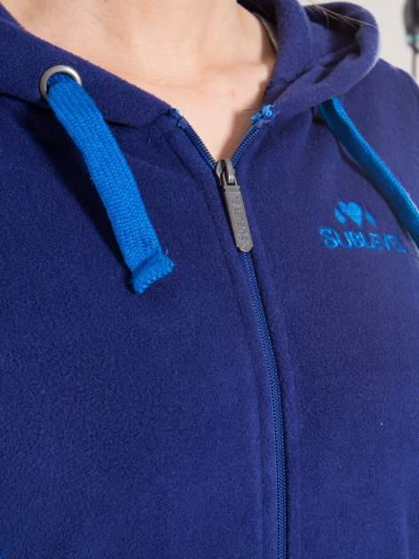 Granatowa polarowa bluza z kontrastowymi przeszyciami                                  zdj.                                  9