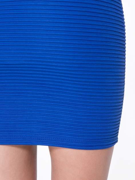 Granatowa prążkowana mini spódnica tuba z suwakami                                  zdj.                                  7