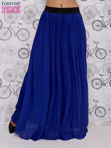 Granatowa spódnica maxi z ornamentowym paskiem