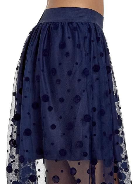 Granatowa spódnica z tiulową warstwą w groszki                                  zdj.                                  6
