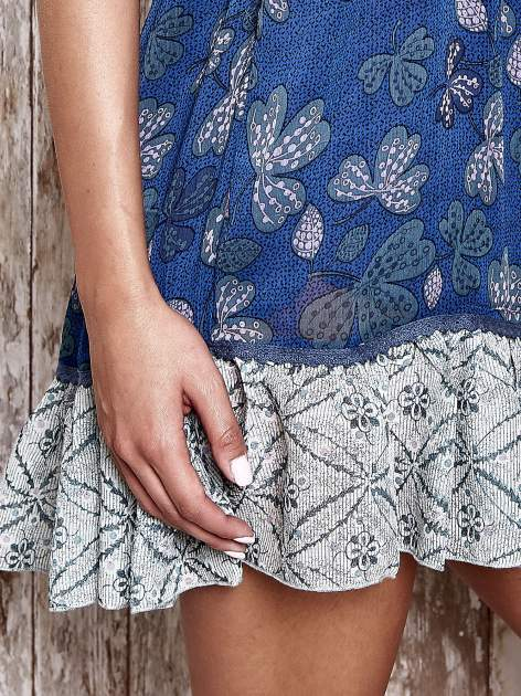 Granatowa sukienka baby doll w kwiatki                                  zdj.                                  5