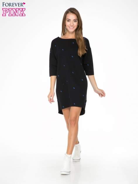 Granatowa sukienka oversize we wzór w ptaszki                                  zdj.                                  2