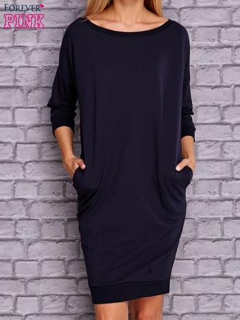 Granatowa sukienka oversize ze ściągaczem                              zdj.                              1