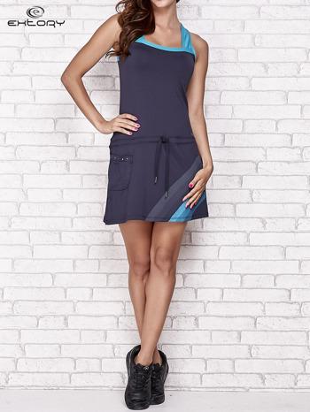 Granatowa sukienka sportowa z niebieskimi wstawkami                                  zdj.                                  7