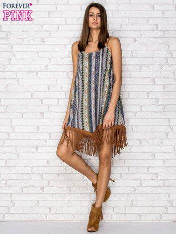 Granatowa sukienka w etniczne wzory z frędzlami                                  zdj.                                  4
