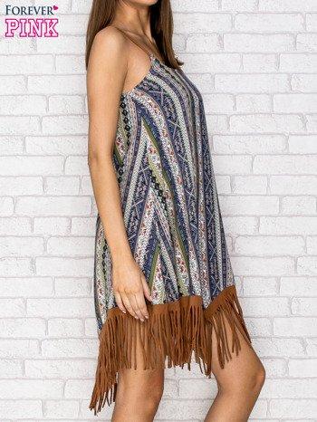 Granatowa sukienka w etniczne wzory z frędzlami                                  zdj.                                  3