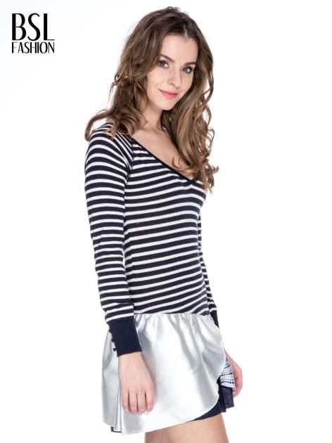 Granatowa sukienka w paski z baskinką z tkaniny                                  zdj.                                  3