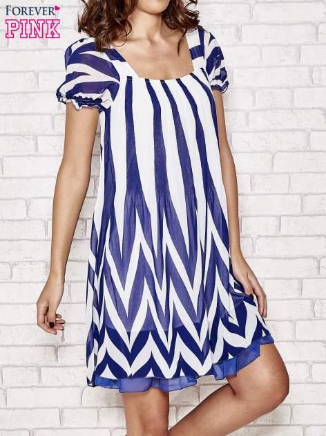 Granatowa sukienka w paski z bufiastymi rękawkami                                  zdj.                                  1