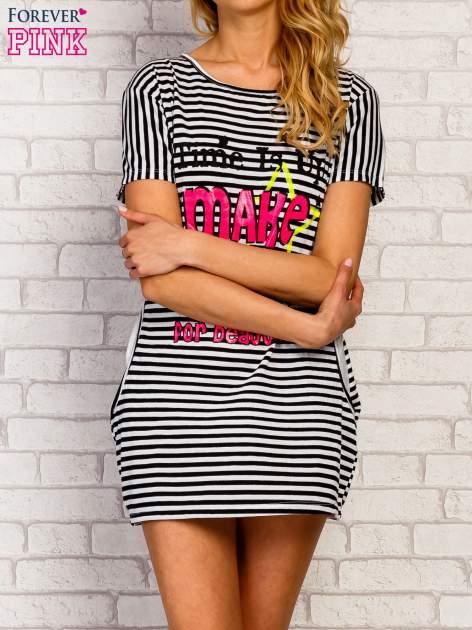Granatowa sukienka w paski z napisem TIME IS UP                                  zdj.                                  5