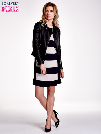 Granatowa sukienka w szerokie pasy                                  zdj.                                  2
