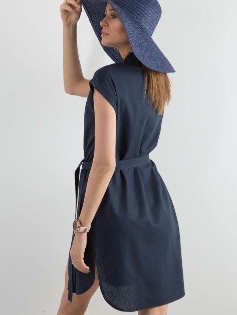 Granatowa sukienka z asymetrycznym zapięciem                              zdj.                              2