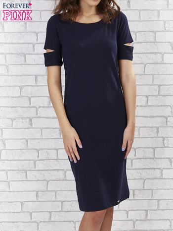 Granatowa sukienka z rozcięciami na rękawach                                  zdj.                                  1