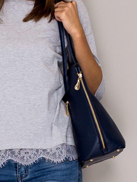 Granatowa torba shopper bag ze złotymi suwakami                                  zdj.                                  2
